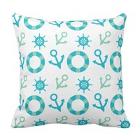 Nautical Sea Green And Blue Anchor Pattern Pillow