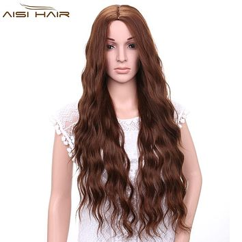 I's a wig Synthetic Brown Blonde Red Black Heat Resistant Hair Water Wave Wigs for Black Women