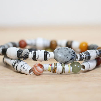 2 Recycled Paper Bead Bracelets, Handmade From Book Pages, Norman Rockwell Art Book