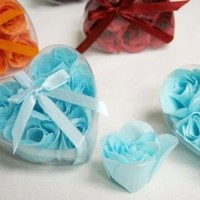 100 Gift Boxes with 6 Rose Soaps - Wedding Favors - Turquoise