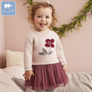 DB5483 dave bella autumn infant baby girl's knitted sweater dress kids fashion party birthday dress children princess clothes