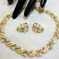 Vintage Crown Trifari Faux Pearl and Rhinestone Necklace and Earrings
