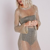 Missguided - Metallic Bell Sleeve Knitted Dress Gold
