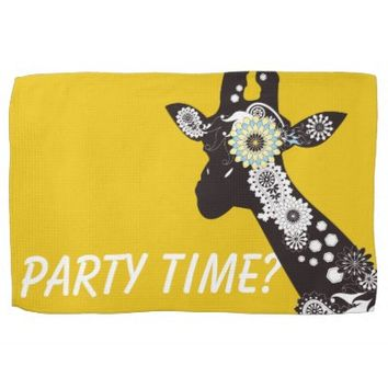 Funky Paisley Giraffe Cool Dish Towels: Wild Animal Funny and Girly Design Kitchen Towel: Party Time?