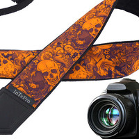 Orange sugar skulls camera strap. Scary camera strap. DSLR / SLR Camera Strap. Camera accessories for creative people
