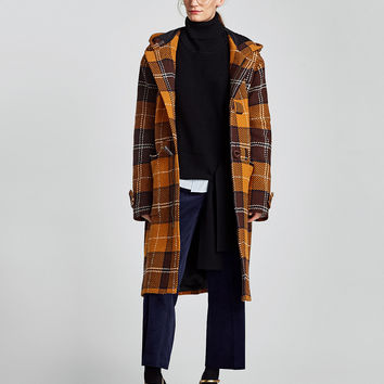 LONG CHECKED DUFFLE COAT - NEW IN-WOMAN | ZARA United States