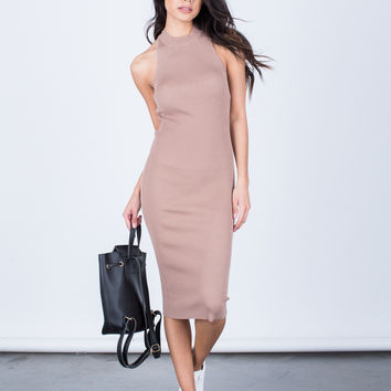 Strappy Mock Neck Dress
