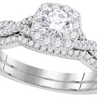 14kt White Gold Womens Round Diamond Certified Bridal Wedding Engagement Ring Band Set 5/8 Cttw