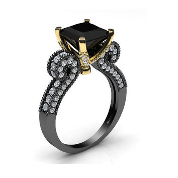Black Gold Gothic Art Deco Ring 14 k