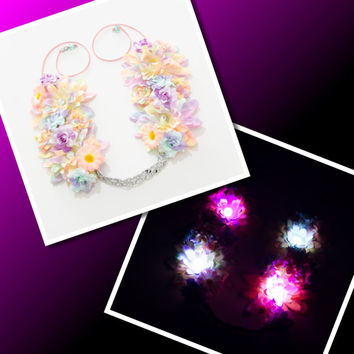 LED Pastel Rave Flower Crown, Electric Daisy Carnival, TomorrowWorld, TomorrowLand, Coachella, Electric Forest, Ultra Music Festival, Ezoo