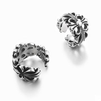 """Chrome Hearts"" Personality Fashion Unisex Retro Ring Couple Titanium Steel Ring Tail Ring"