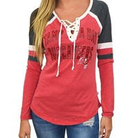 Tampa Bay Buccaneers Womens Laceup Long Sleeve Top | SportyThreads.com