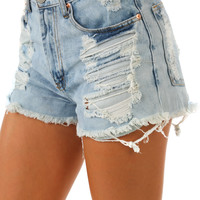 Last Forever Shorts: Light Denim