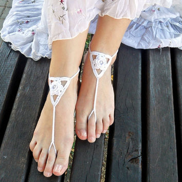 Flower Barefoot Sandals White Cotton Nude Shoes Bridal Sandals Wedding Foot Jewelry Beach Shoes Bridal Toe Shoes Beads - SC0012A