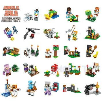 Single Sale HOT Minecrafted Action Figures Animals Toys Steve Alex Dragon Compatible LegoINGlys DIY Series Minecraft Blocks