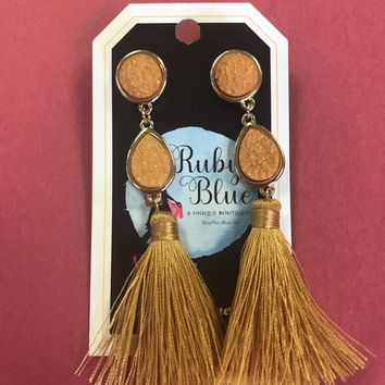 Daring Days Druzy Tassel Earrings
