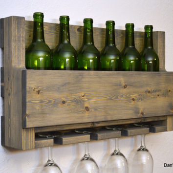 Rustic Wine Rack 6 Bottle 4 Glass Holder Wall Bar Liquor Cabinet Light Weathered Gray Wood