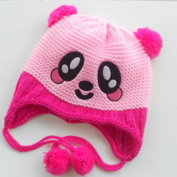Newborn Unisex Girl Baby Knitted Crochet Baby Hat Lovely Panda hat Cap with ear flap Animal Style