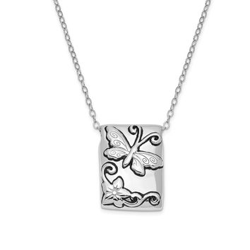 Sterling Silver Antiqued Butterfly Rectangle Ash Holder Necklace, 18in