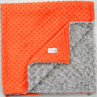 Orange and Grey Rosette Minky Throw Baby Blanket, Home Decor, Birthday, Crib Bedding, Baby Shower - Gift, Toddler Bedding