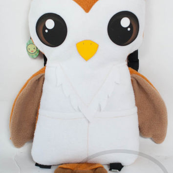Barn Owl Backpack,  Bag, Plush Animal, Handmade