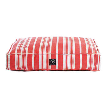 Classic Stripe Rectangle Dog Bed | Red