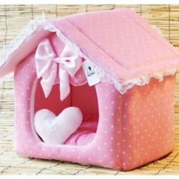 Princess/Prince Pink/Blue Pet Dog Cat Bed/House M,L