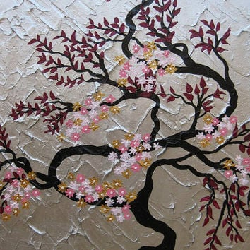 painting cherry blossom tree trees  large abstract art zen oriental black gray grey silver gold maroon pink Japanese look panels wall