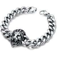 Stainless Steel Biker Lion Curb Chain Link Bracelet