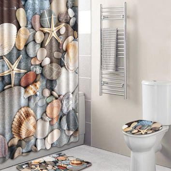 Shell 12hooks Shower Curtain & 3pcs Rug