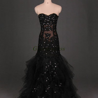 vintage black tulle wedding dresses with rhinestone / stunning mermaid bridal gowns long/ applique lace sweetheart dress for wedding party /