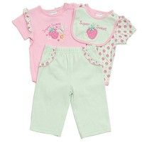 Baby Girls Pink Light Green Strawberry 4pc Outfit 12-24M