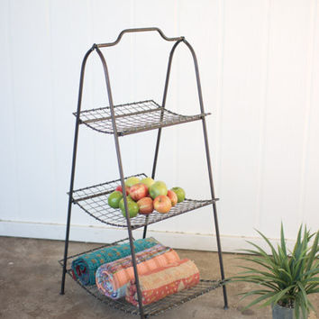 Metal Stand with Wire Mesh Shelves