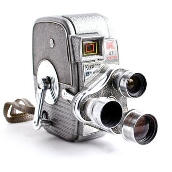 Vintage Keystone Movie Camera - K-27 Capri Triple Turret 8MM Camera / 1950s Cinema