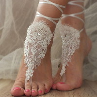 Free Ship  ivory lace barefoot sandals ,  lace sandals Beach wedding barefoot sandals ,