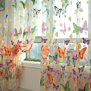 New Retail New Butterfly Printed Tulle Voile Door Window Balcony Sheer Panel Screen Curtain