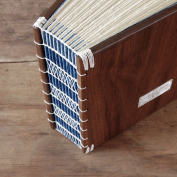 Custom personalized wood guest book, black walnut with navy blue brown