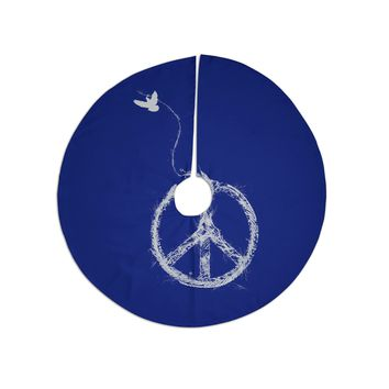 """Frederic Levy-Hadida """"Bird Sewing Peace"""" Blue White Tree Skirt"""