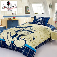 Mickey Mouse Beige Blue Bedding Set and Quilt Cover