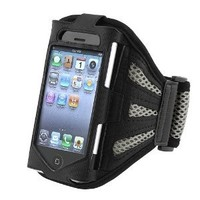 Insten Sport Workout Armband Compatible with Apple iPhone 4/4S - Retail Packaging - Black