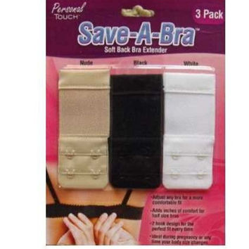 SAVE A BRA(3.5 X 1.5)DOUBLE HOOK EXTENDER-TIGHT-MATERNITY(BLACK,WHITE,NUDE) = 1946055876