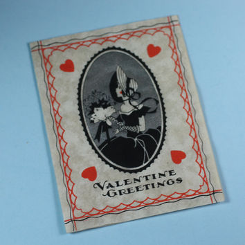 Valentines Day Card Woman in Silhouette 1939 Art Deco