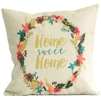 Linen Square Throw Flax Pillow Case Decorative Cushion Pillow Cover