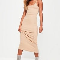 Missguided - Nude Ribbed Strappy Maxi Dress