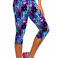 Womens Leggings Tartan Active Workout Capri Leggings Fitted Stretch Tights