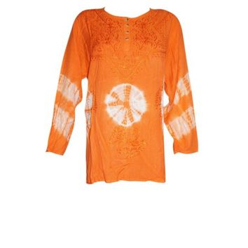 Mogul Womens Bohemian Tunic Top Tie Dye Embroidered Orange Peasant Blouse L - Walmart.com