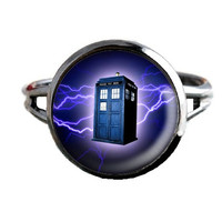 Dr Who Inspired Tardis Ring - Blue Lightning - Public Police Box Jewelry - Geeky Whovian