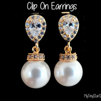 Clip On Earrings Pearl Earrings White Pearls Ivory Pearls cubic zirconia Earrings Gold Earrings Pearls Earrings Wedding Jewelry Bridal