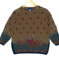 Vintage 90s Indian / Native American Southwestern Wool Tunic Ugly Sweater