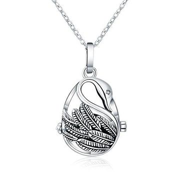 Swan Lava Stone Aromatherapy Necklace - Antique Silver Tone Animal Inspired With Essential Oil Diffuser Locket